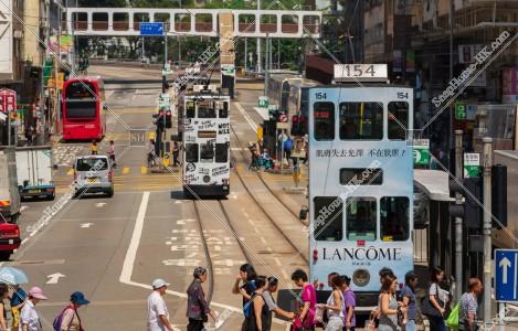 筲箕灣を走行する香港トラム その④
