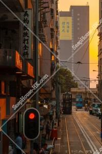 堅尼地城 夕方の街並みの風景と香港トラム その②
