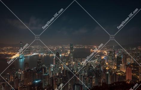 ヴィクトリア・ピークから見る香港の深夜の夜景 その②