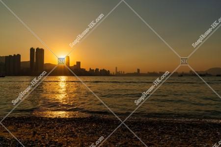 三家村から見るヴィクトリア・ハーバーの夕陽 その⑨
