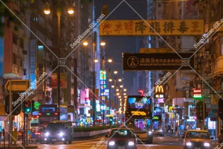油麻地 夜の彌敦道(ネイザンロード)の街並み その④