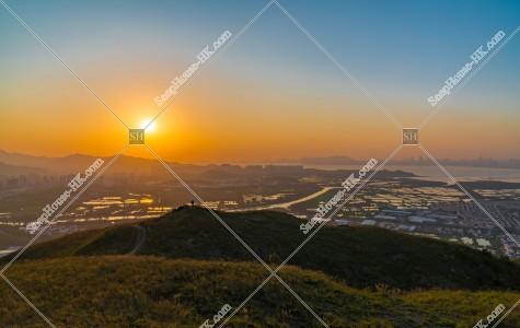 雞公嶺と元朗の郊外の夕景 その①