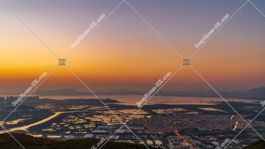 元朗の郊外と深センの夕方の風景 その⑦