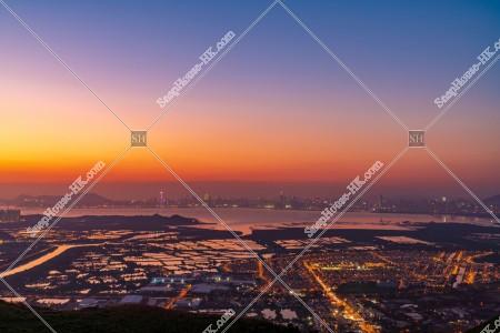 元朗の郊外と深センの夕方の風景 その⑧