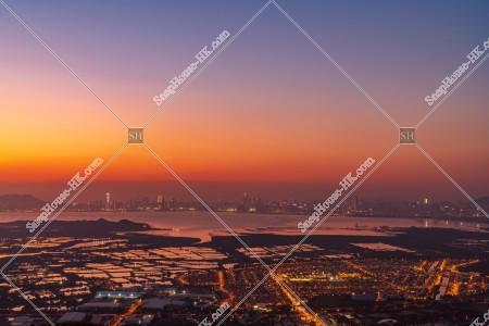 元朗の郊外と深センの夕方の風景 その⑨