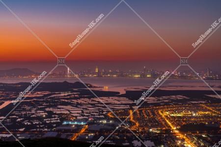 元朗の郊外と深センの夕方の風景 その⑩