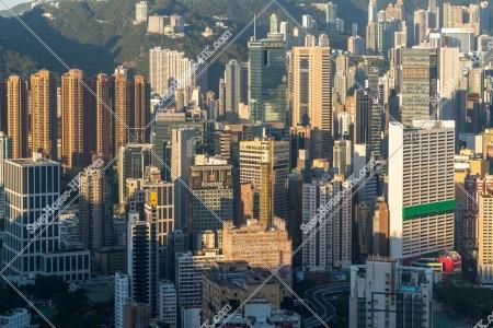 朝の銅鑼灣の高層ビル群