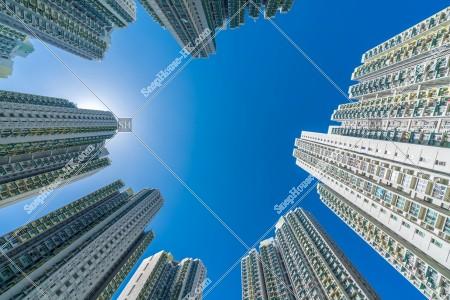 九龍城にある公共住宅の景色