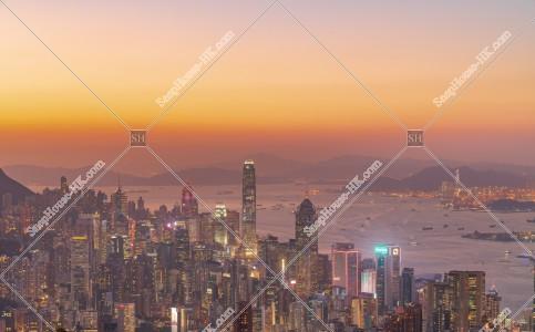 香港島 セントラル(中環)~湾仔(灣仔)の日没後のスカイラインビュー その①