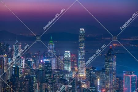 香港島 セントラル(中環)~湾仔(灣仔)の日没後のスカイラインビュー その②