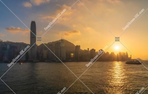 夕日と香港島の高層ビル群 その②