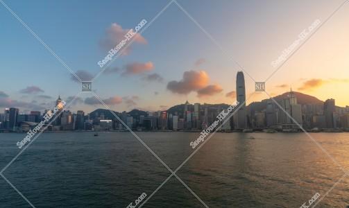 日没時間帯の香港島の高層ビル群 その⑥