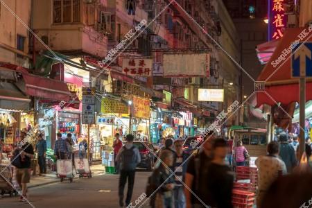 夜の荃灣の街並みの風景 その②