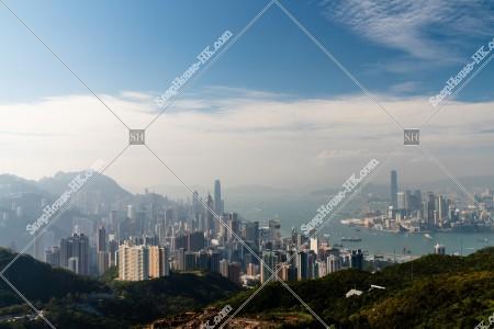 香港島と九龍半島の夕方のスカイラインビュー その⑨