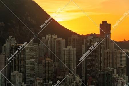 上環の高層ビル群の夕景 その①