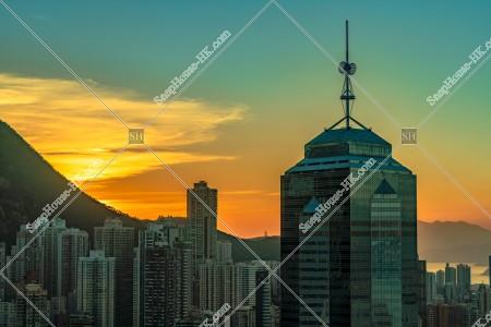 セントラル(中環)~上環の高層ビル群の夕景 その④