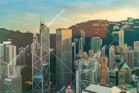 セントラル(中環)の高層ビル群の夕方の風景 その⑧