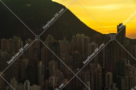 セントラル(中環)の高層ビル群の夕方の風景 その⑯