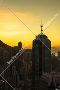 セントラル(中環)~上環の高層ビル群の夕景 その⑧