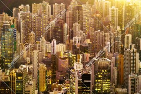 セントラル(中環)の高層ビル群の夕方の風景 その⑰