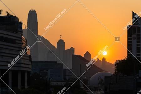 尖沙咀から見る夕陽 その①