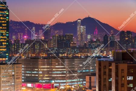 九龍灣から見る九龍と香港島の夕景 その③