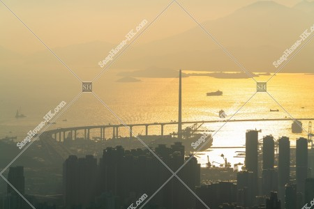 夕方の昂船洲大橋(ストーンカッターズ橋) その④