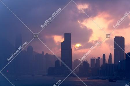 夕日と九龍半島香港島 その①
