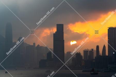夕日と九龍半島と香港島 その③
