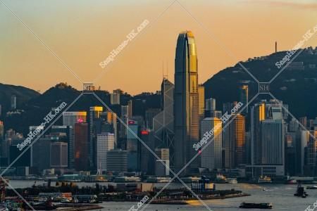 セントラル(中環)の高層ビル群の夕方の風景 その⑳