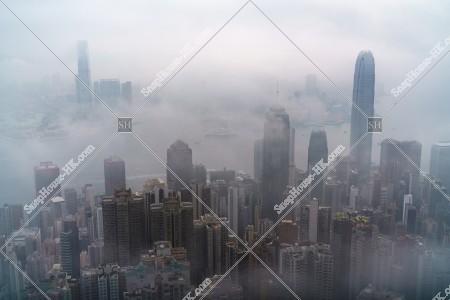 ヴィクトリア・ピークから見る香港の都市と雲海 その⑮