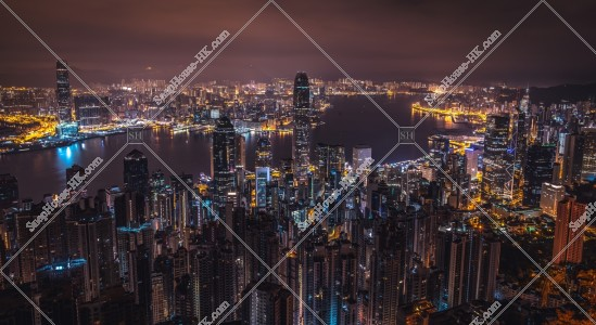 ヴィクトリア・ピークから見る香港の深夜の夜景 その④
