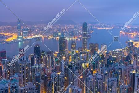 ヴィクトリア・ピークから見る香港の夜明けの風景 その⑥