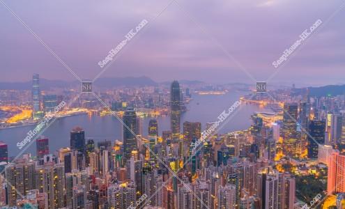 ヴィクトリア・ピークから見る香港の夜明けの風景 その⑦