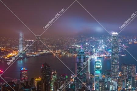曇天時のヴィクトリア・ピークから見る香港の夜景 その⑤