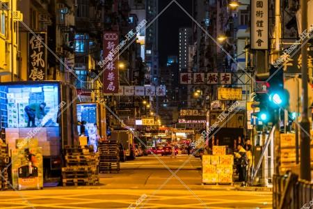 油麻地 夜の上海街の街並み その①