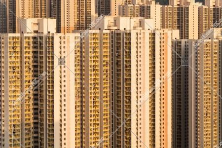 九龍東の夕方の公共住宅のマンション群 その①