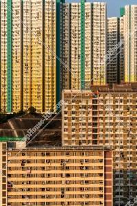 九龍東の夕方の公共住宅のマンション群 その⑤