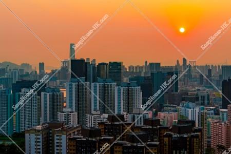 九龍の都市風景と夕陽 その①