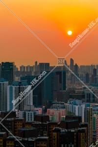 九龍の都市風景と夕陽 その②