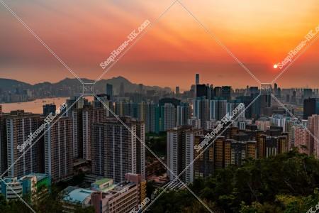 九龍の都市風景と夕陽 その③
