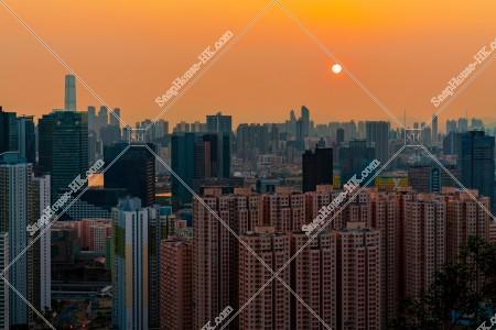 九龍の都市風景と夕陽 その⑤