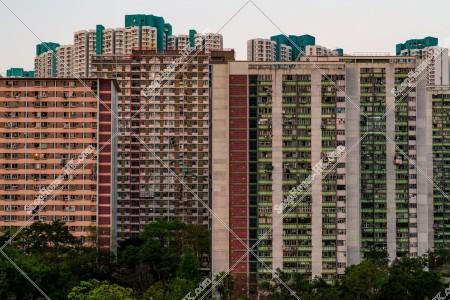 九龍東の夕方の公共住宅のマンション群 その⑥