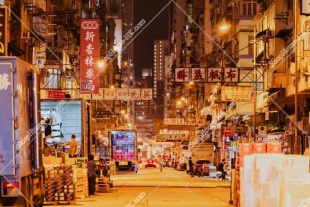 油麻地 夜の上海街の街並み その②