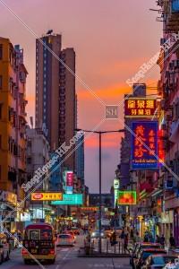 九龍城の夕方の街並みと看板 その⑲
